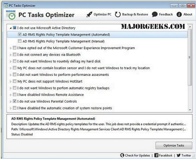 enhance system performance with pc tasks optimizer majorgeeks