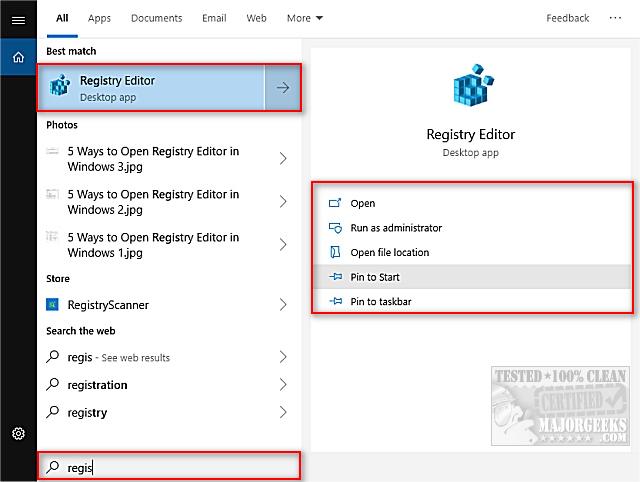 5 Ways to Open Registry Editor in Windows - MajorGeeks
