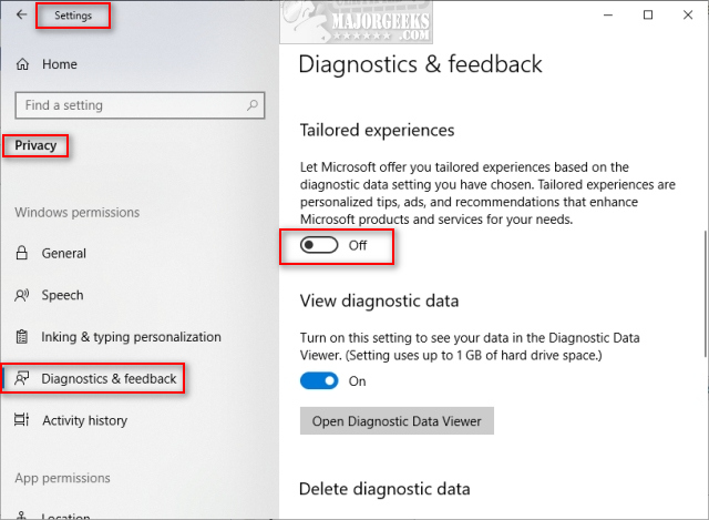 How to Turn on or off Tailored Experiences on Windows 10