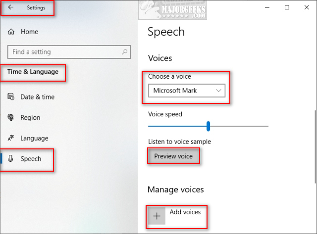 How to Add and Remove Speech Voices in Windows 10 - MajorGeeks
