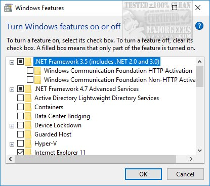 How to enable. Net framework 2. 0 and 3. 5 in windows 10 and 8. 1.