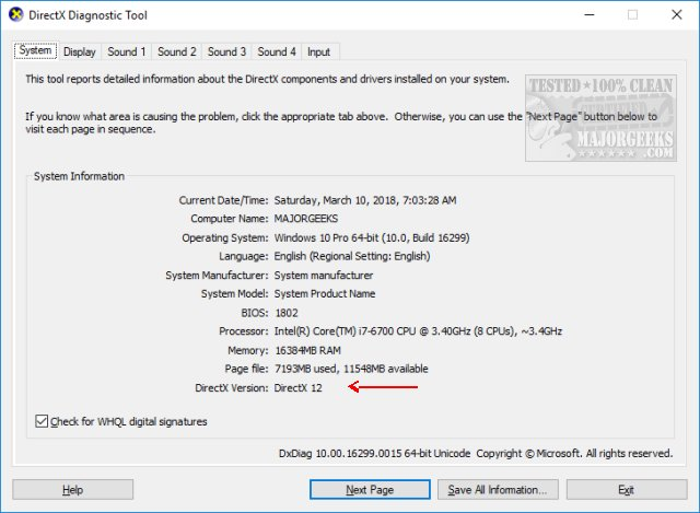directx latest version download for windows 10