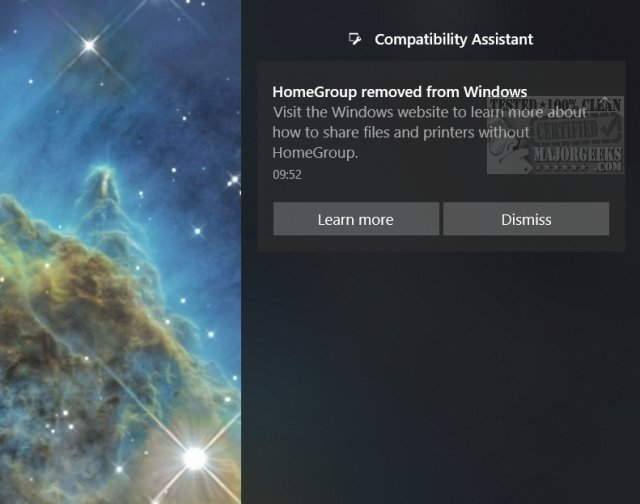 homegroup removed from latest version of windows