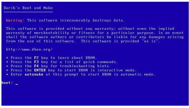 Linux & Mac on CD DBAN Boot and Nuke Hard Drive Data Wiping ...