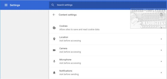 Block Notifications, Camera, Microphone, and Location in