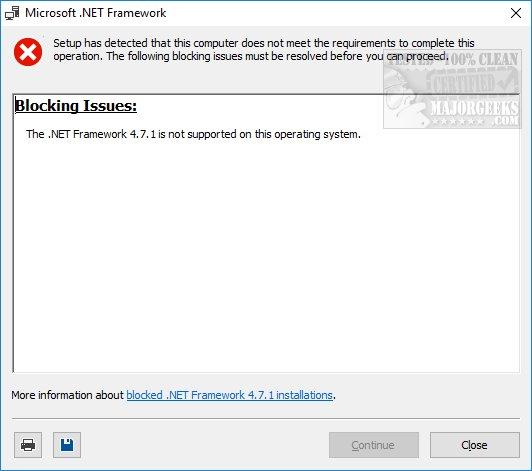.net framework 4.7 windows 10 not supported