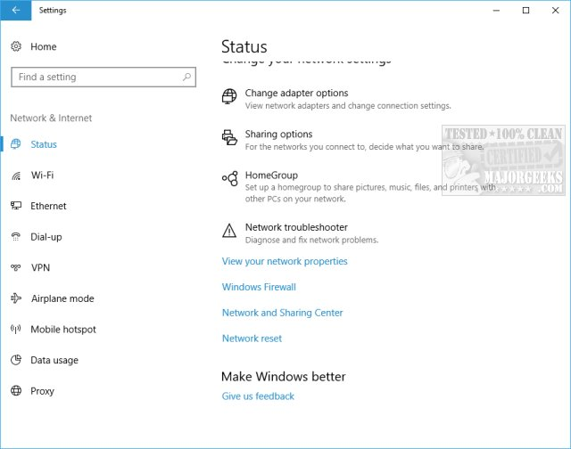 How to See Your Network Adapter Speed in Windows 10 - MajorGeeks