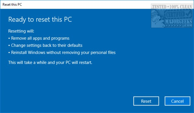 how to reset windows 10 without losing files and apps