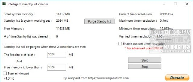 Easily Monitor, Clear Memory Standby List with Intelligent
