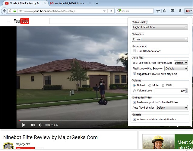 Download YouTube High Definition for Firefox - MajorGeeks