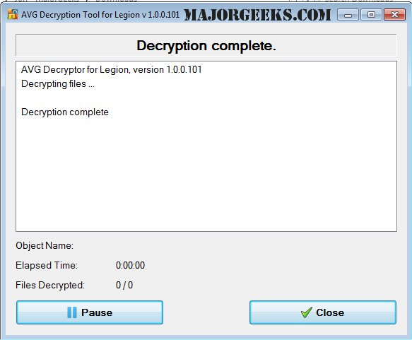 Download AVG Decryption Tool For Legion - MajorGeeks