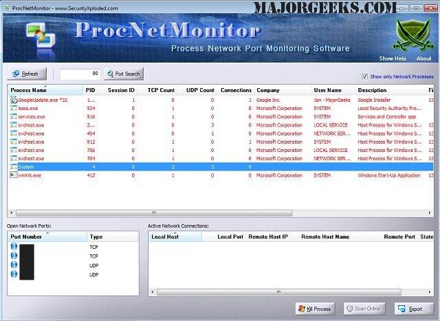Download Process Network Monitor - MajorGeeks