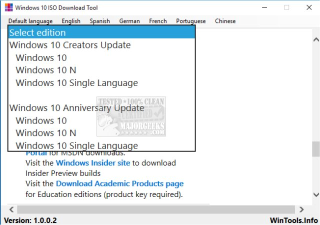 Download Windows 10 ISO Download Tool - MajorGeeks