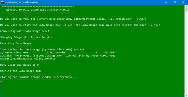 Download Windows 10 Data Usage Reset Script - MajorGeeks