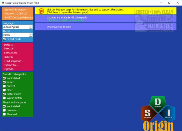 Download Snappy Driver Installer Origin - MajorGeeks