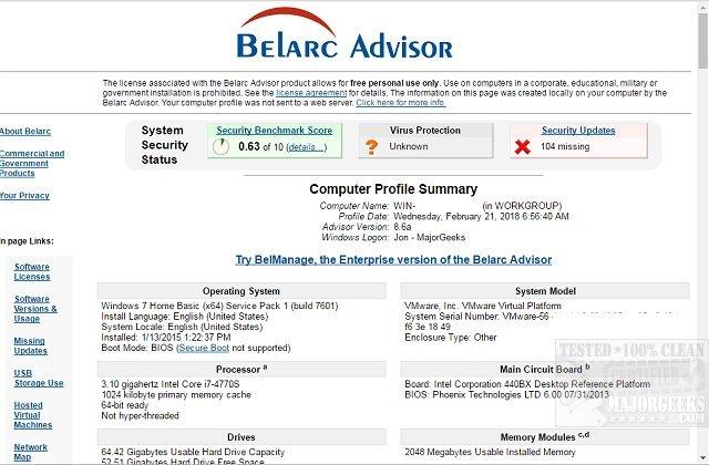 Download Belarc Advisor - MajorGeeks
