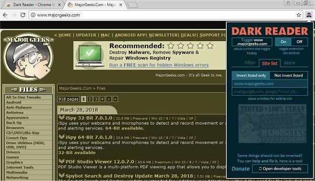 Download Dark Reader for Chrome - MajorGeeks