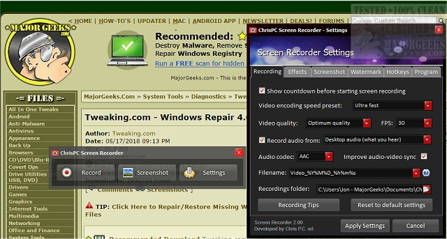 Download ChrisPC Screen Recorder - MajorGeeks