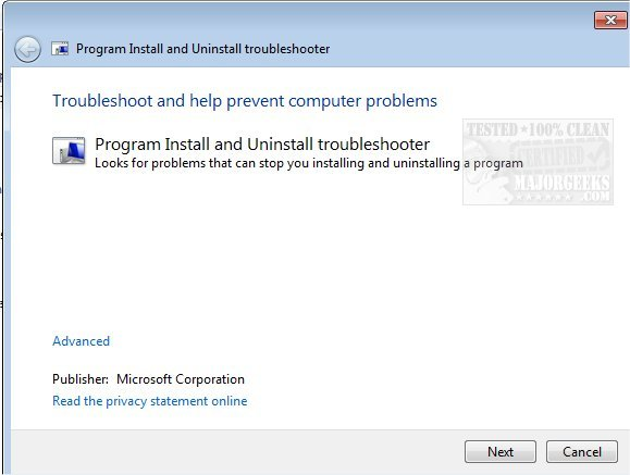 Download Microsoft Program Install and Uninstall Troubleshooter