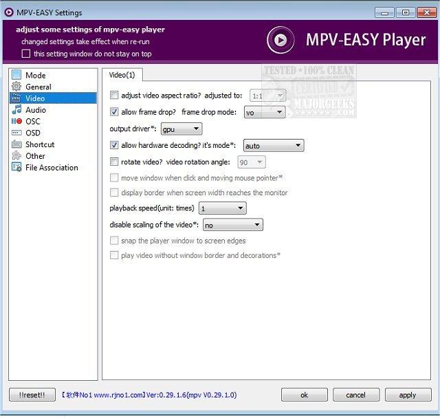 Download MPV-EASY Player - MajorGeeks