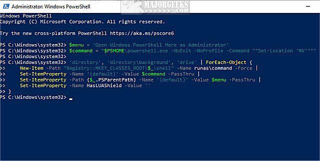 Download Open Powershell Window Here as Administrator