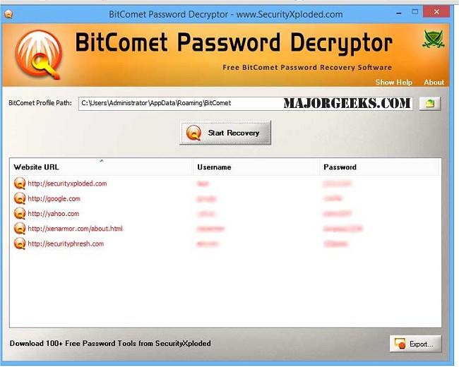 Download BitComet Password Decryptor - MajorGeeks