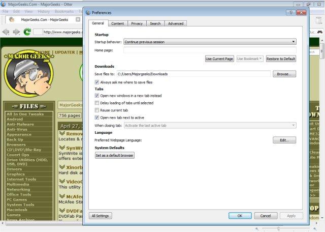 Download Otter Browser - MajorGeeks