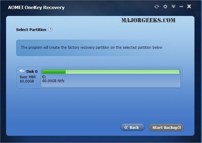 Download AOMEI OneKey Recovery - MajorGeeks