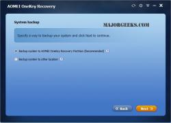 Download AOMEI OneKey Recovery - MajorGeeks