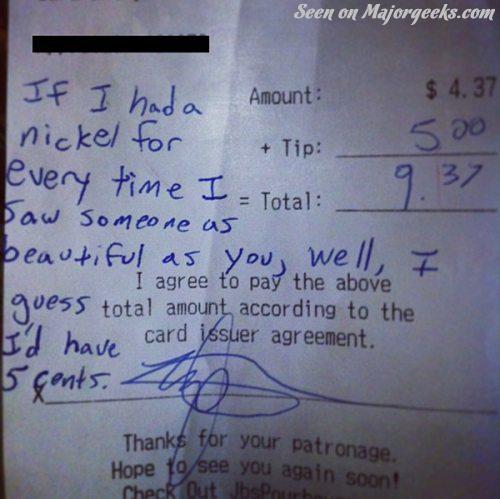 random photo  a nice note left on a restaurant receipt