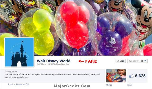 Fake Walt Disney World Facebook Pages Being Used to Scam People with Free Trips - MajorGeeks