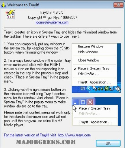 Minimize any program to the Windows tray with TrayIt! - MajorGeeks