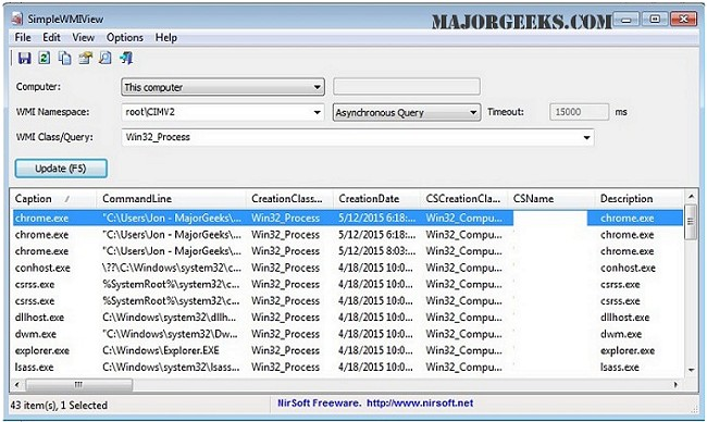 SimpleWMIView displays easily exportable WMI query results - MajorGeeks