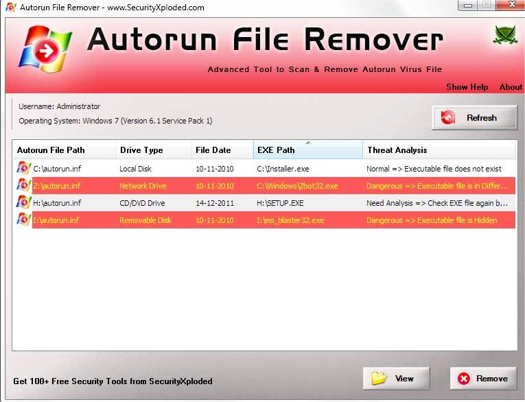 Scan and Remove Autorun inf With AutoRun File Remover