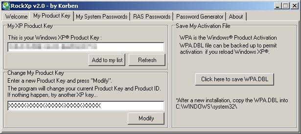 Recuperare il Key di Windows Rockxp